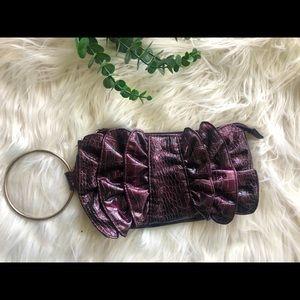 Purple Faux Snake Skin Clutch